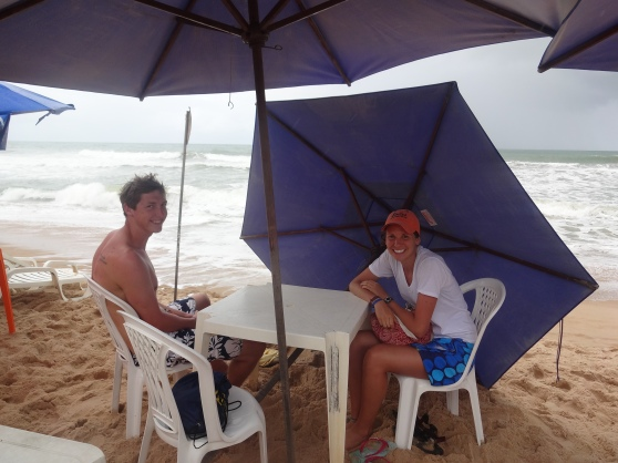 Eating lunch by the sea, sheltered from the storm (Rebecca and Eric)