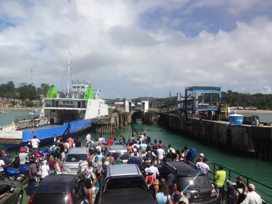 Arriving in the dock!  Literally everyone crowded down from the upper levels of the ferry, ready to disembark.