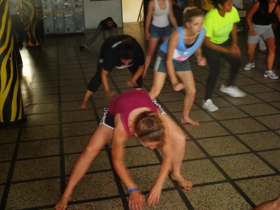We then added a move where you bend down and almost tap the floor as you sway from side-to-side doing the ginga.
