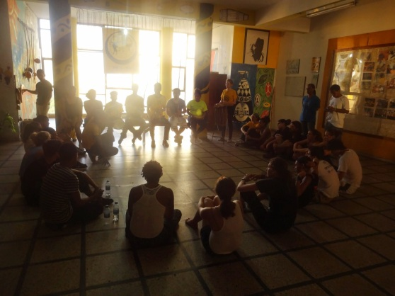 After learning some of the basic moves, we formed a roda, which is the circle in which capoeira is played between two people, while the rest look on.