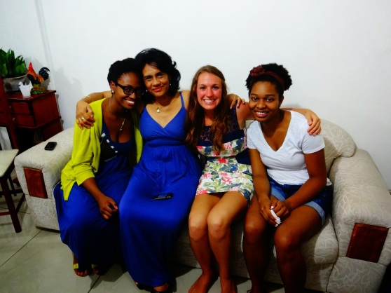 Rachel, Aurea, Me, and Amber.  Rachel made M&M cookies for me!  They were my first cookies in Brasil. :)